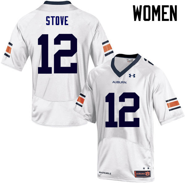 Women Auburn Tigers #12 Eli Stove College Football Jerseys Sale-White