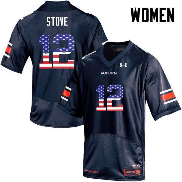 Women #12 Eli Stove Auburn Tigers USA Flag Fashion College Football Jerseys-Navy