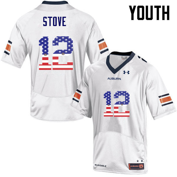 Youth #12 Eli Stove Auburn Tigers USA Flag Fashion College Football Jerseys-White