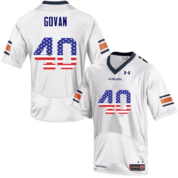 Men #40 Eugene Govan Auburn Tigers USA Flag Fashion College Football Jerseys-White