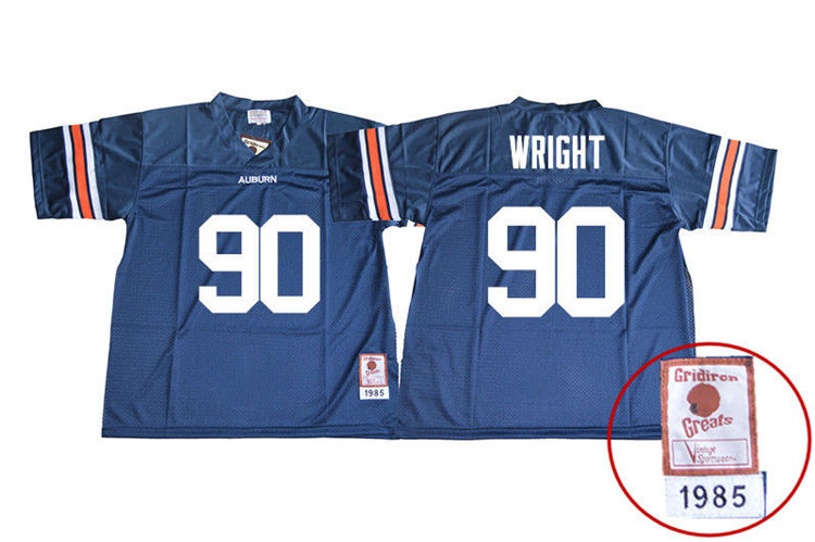 1985 Throwback Men #90 Gabe Wright Auburn Tigers College Football Jerseys Sale-Navy