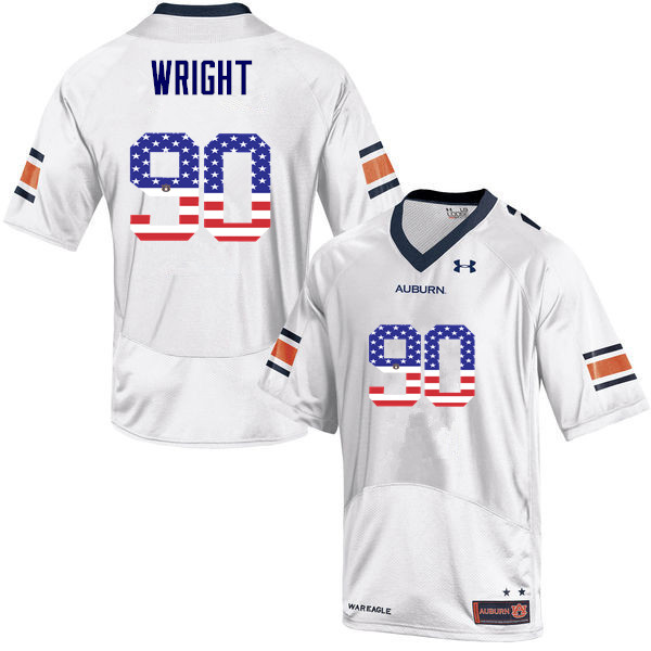 Men #90 Gabe Wright Auburn Tigers USA Flag Fashion College Football Jerseys-White