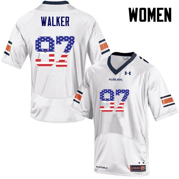 Women #97 Gary Walker Auburn Tigers USA Flag Fashion College Football Jerseys-White