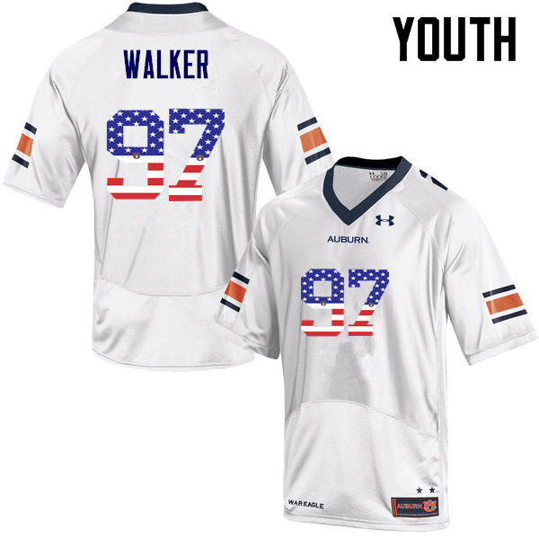 Youth #97 Gary Walker Auburn Tigers USA Flag Fashion College Football Jerseys-White
