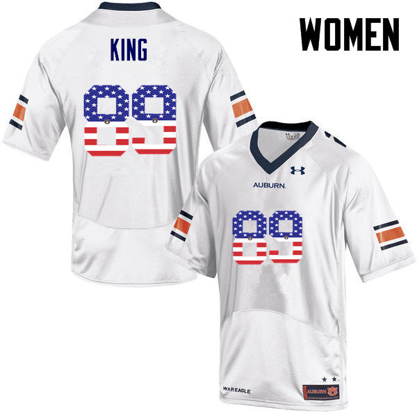 Women #89 Griffin King Auburn Tigers USA Flag Fashion College Football Jerseys-White