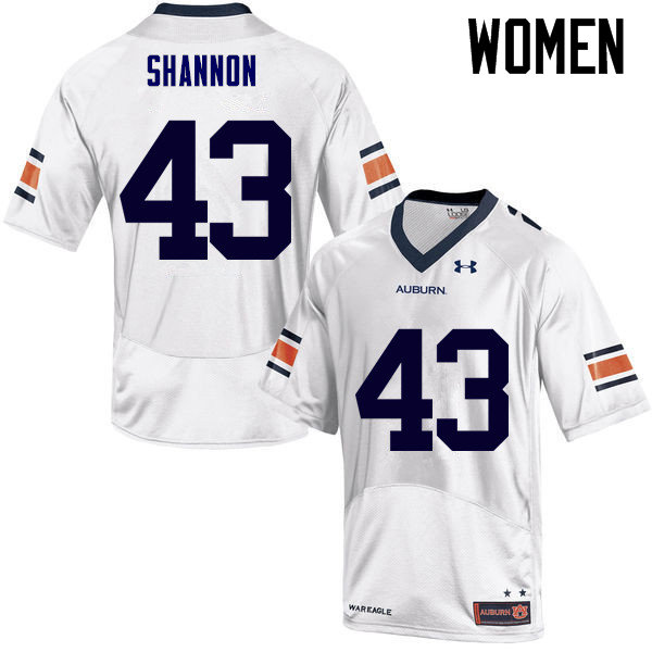 Women Auburn Tigers #43 Ian Shannon College Football Jerseys Sale-White