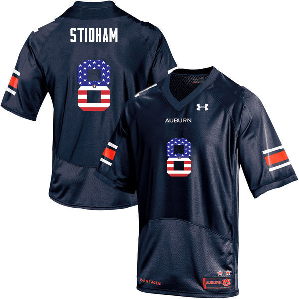 Men #8 Jarrett Stidham Auburn Tigers USA Flag Fashion College Football Jerseys-Navy