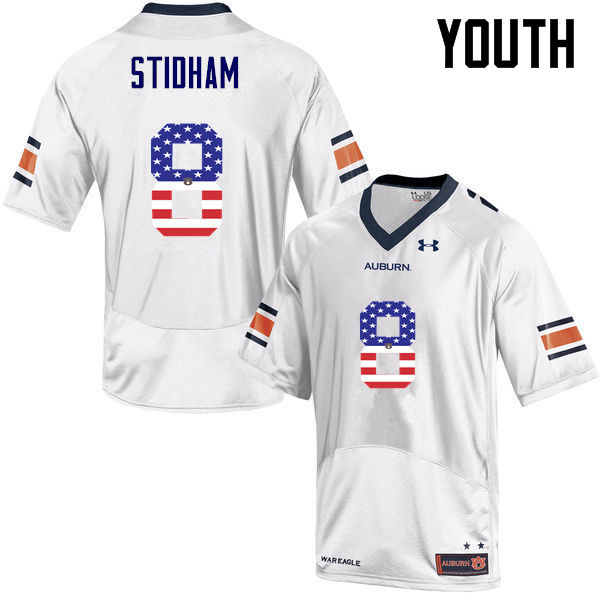 Youth #8 Jarrett Stidham Auburn Tigers USA Flag Fashion College Football Jerseys-White