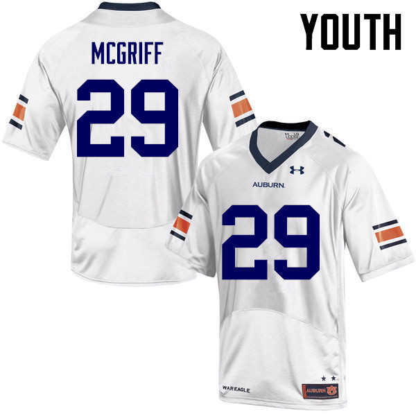 Youth Auburn Tigers #29 Jaylen McGriff College Football Jerseys-White
