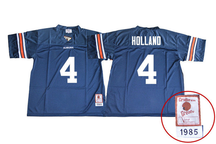 1985 Throwback Men #4 Jeff Holland Auburn Tigers College Football Jerseys Sale-Navy