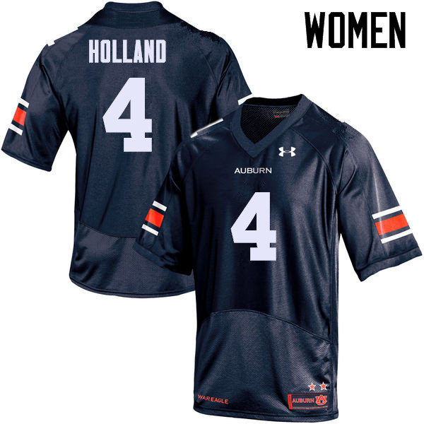 Women Auburn Tigers #4 Jeff Holland College Football Jerseys Sale-Navy