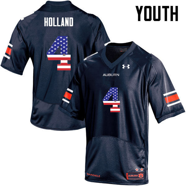 Youth #4 Jeff Holland Auburn Tigers USA Flag Fashion College Football Jerseys-Navy