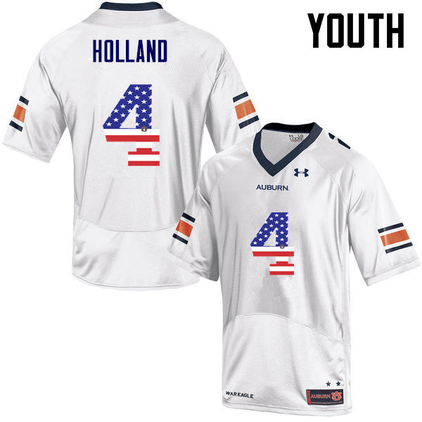 Youth #4 Jeff Holland Auburn Tigers USA Flag Fashion College Football Jerseys-White