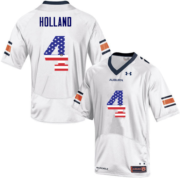 Men #4 Jeff Holland Auburn Tigers USA Flag Fashion College Football Jerseys-White