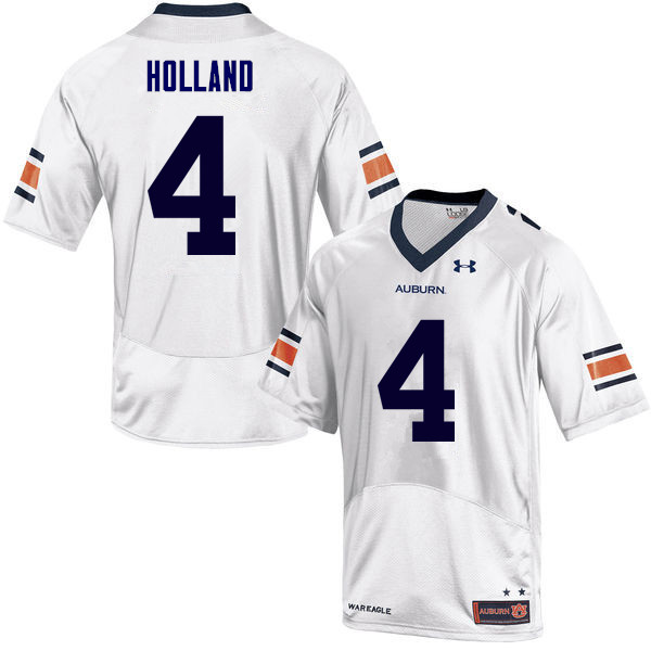 Men Auburn Tigers #4 Jeff Holland College Football Jerseys Sale-White