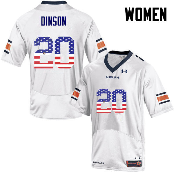 Women #20 Jeremiah Dinson Auburn Tigers USA Flag Fashion College Football Jerseys-White