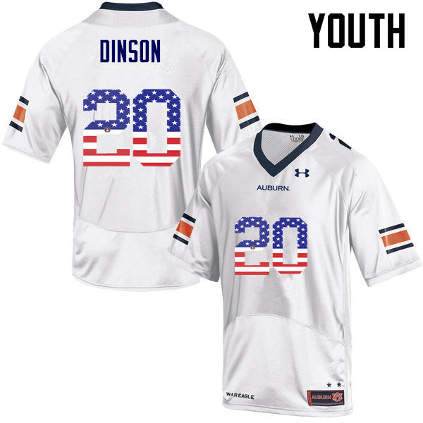 Youth #20 Jeremiah Dinson Auburn Tigers USA Flag Fashion College Football Jerseys-White