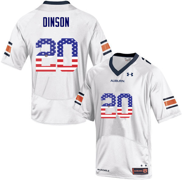 Men #20 Jeremiah Dinson Auburn Tigers USA Flag Fashion College Football Jerseys-White