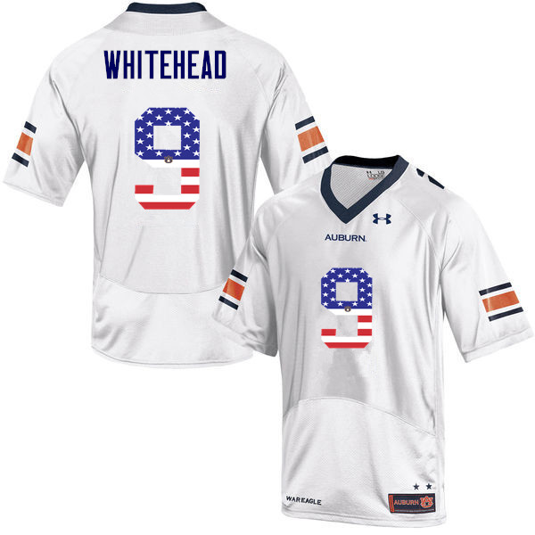 Men #9 Jermaine Whitehead Auburn Tigers USA Flag Fashion College Football Jerseys-White