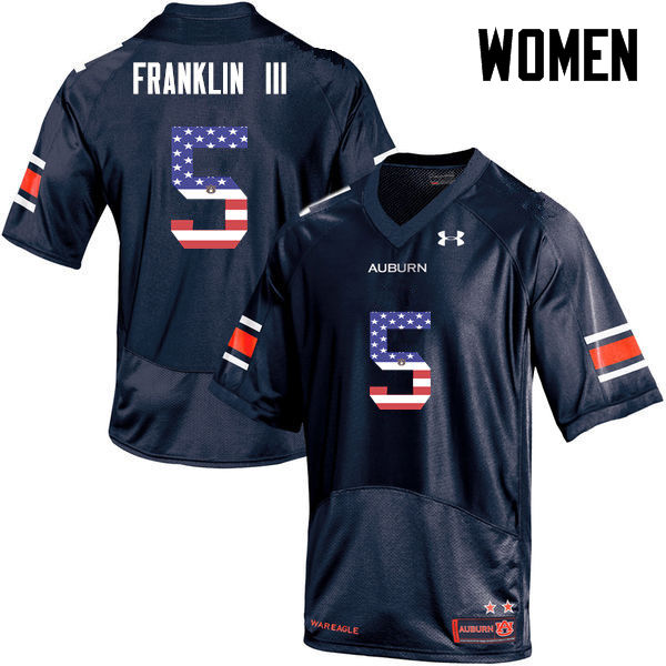 Women #5 John Franklin III Auburn Tigers USA Flag Fashion College Football Jerseys-Navy