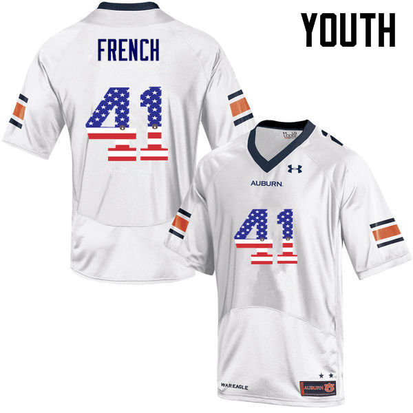 Youth #41 Josh French Auburn Tigers USA Flag Fashion College Football Jerseys-White