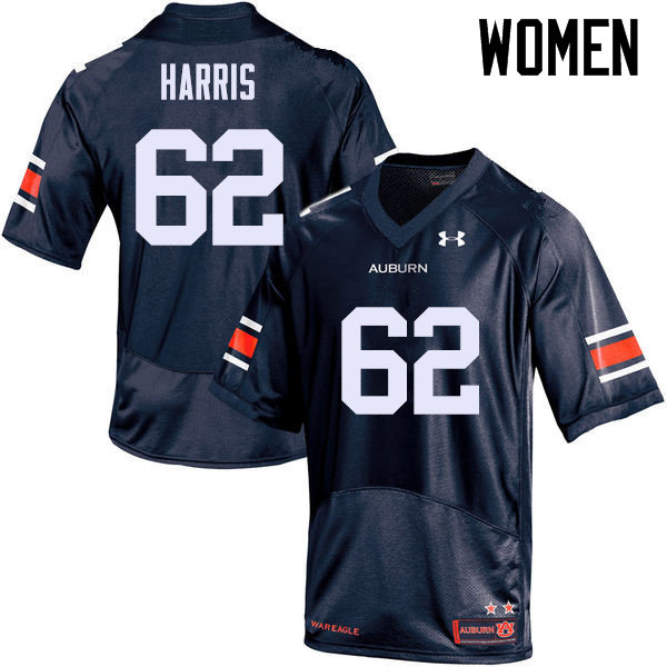 Women Auburn Tigers #62 Josh Harris College Football Jerseys Sale-Navy
