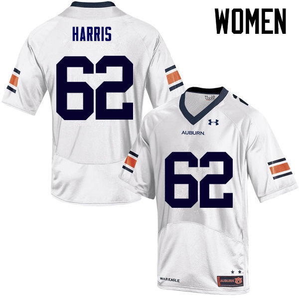 Women Auburn Tigers #62 Josh Harris College Football Jerseys Sale-White