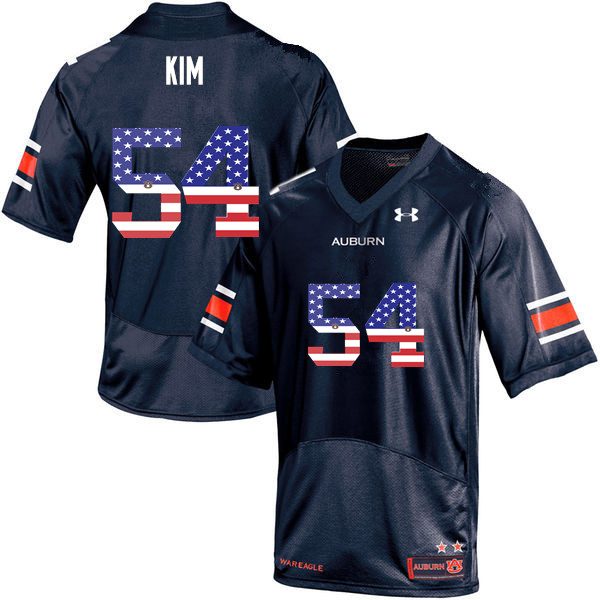 Men #54 Kaleb Kim Auburn Tigers USA Flag Fashion College Football Jerseys-Navy