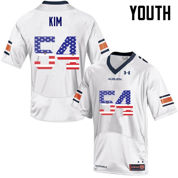 Youth #54 Kaleb Kim Auburn Tigers USA Flag Fashion College Football Jerseys-White