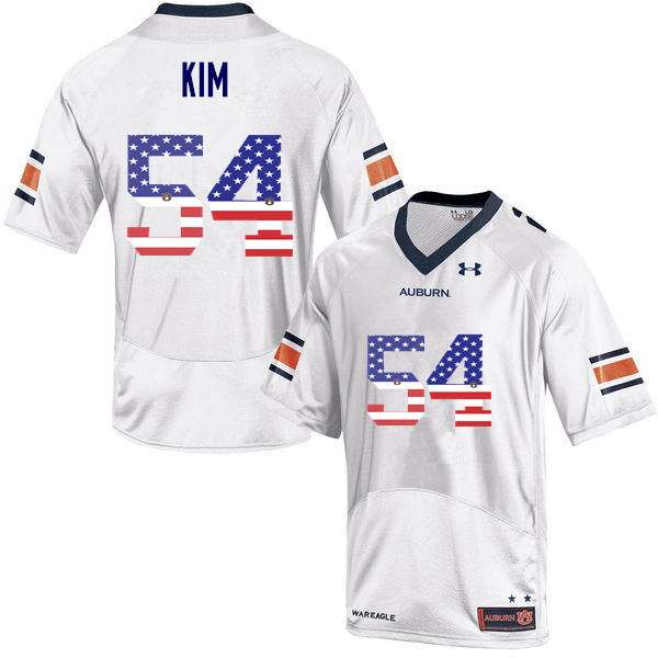 Men #54 Kaleb Kim Auburn Tigers USA Flag Fashion College Football Jerseys-White
