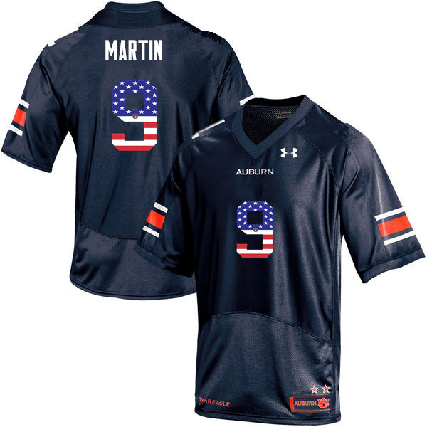 Men #9 Kam Martin Auburn Tigers USA Flag Fashion College Football Jerseys-Navy