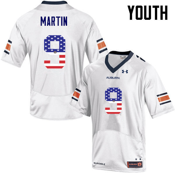 Youth #9 Kam Martin Auburn Tigers USA Flag Fashion College Football Jerseys-White