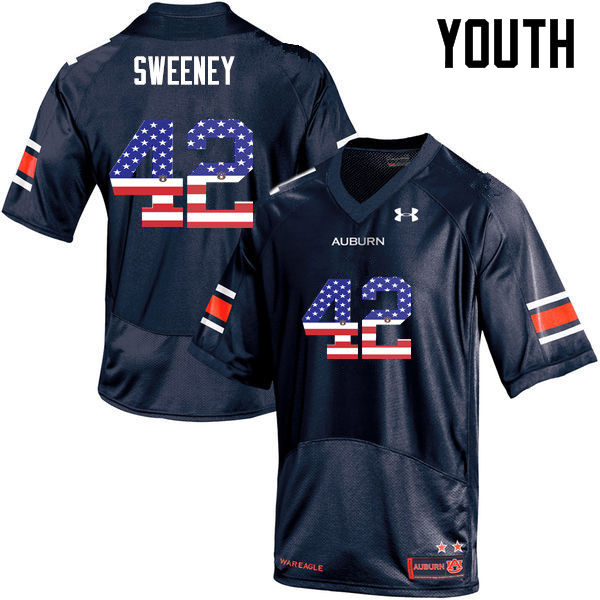 Youth #42 Keenan Sweeney Auburn Tigers USA Flag Fashion College Football Jerseys-Navy
