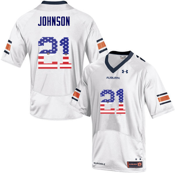 Men #21 Kerryon Johnson Auburn Tigers USA Flag Fashion College Football Jerseys-White