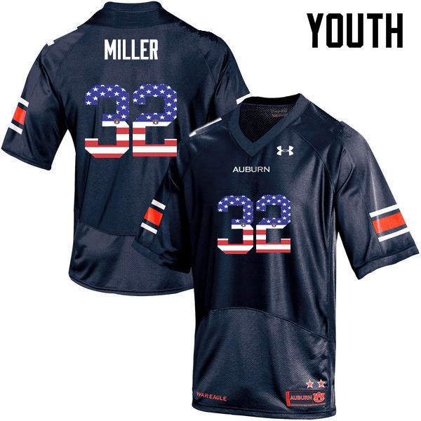 Youth #32 Malik Miller Auburn Tigers USA Flag Fashion College Football Jerseys-Navy