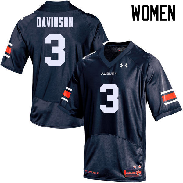 Women Auburn Tigers #3 Marlon Davidson College Football Jerseys Sale-Navy