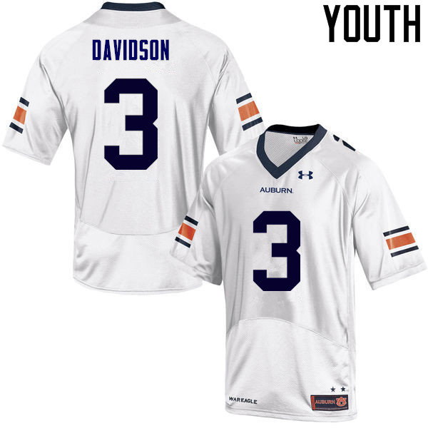 Youth Auburn Tigers #3 Marlon Davidson College Football Jerseys Sale-White
