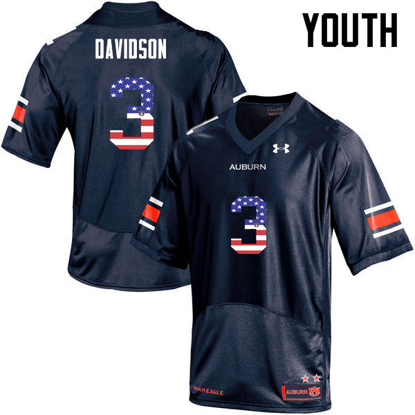 Youth #3 Marlon Davidson Auburn Tigers USA Flag Fashion College Football Jerseys-Navy