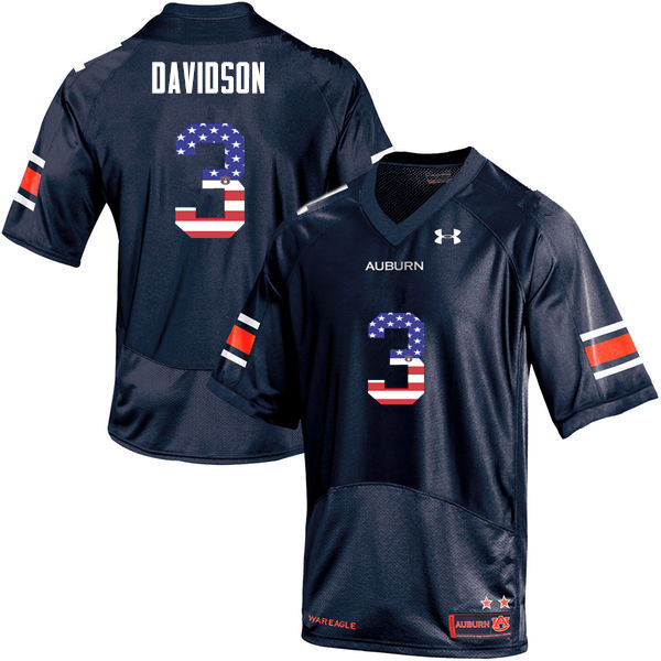 Men #3 Marlon Davidson Auburn Tigers USA Flag Fashion College Football Jerseys-Navy