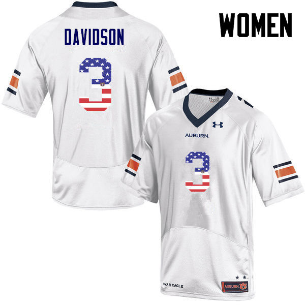 Women #3 Marlon Davidson Auburn Tigers USA Flag Fashion College Football Jerseys-White