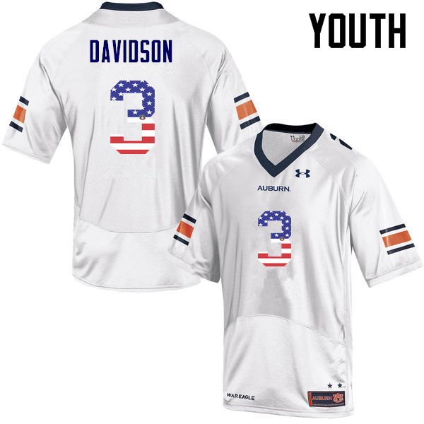 Youth #3 Marlon Davidson Auburn Tigers USA Flag Fashion College Football Jerseys-White