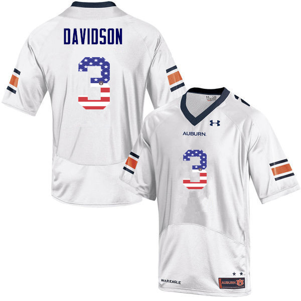 Men #3 Marlon Davidson Auburn Tigers USA Flag Fashion College Football Jerseys-White