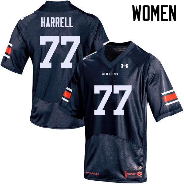 Women Auburn Tigers #77 Marquel Harrell College Football Jerseys Sale-Navy