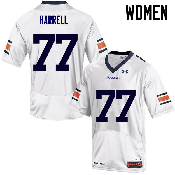 Women Auburn Tigers #77 Marquel Harrell College Football Jerseys Sale-White