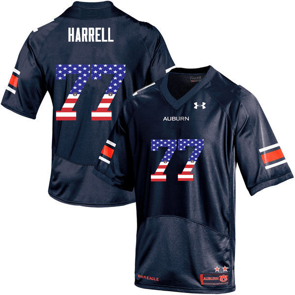 Men #77 Marquel Harrell Auburn Tigers USA Flag Fashion College Football Jerseys-Navy