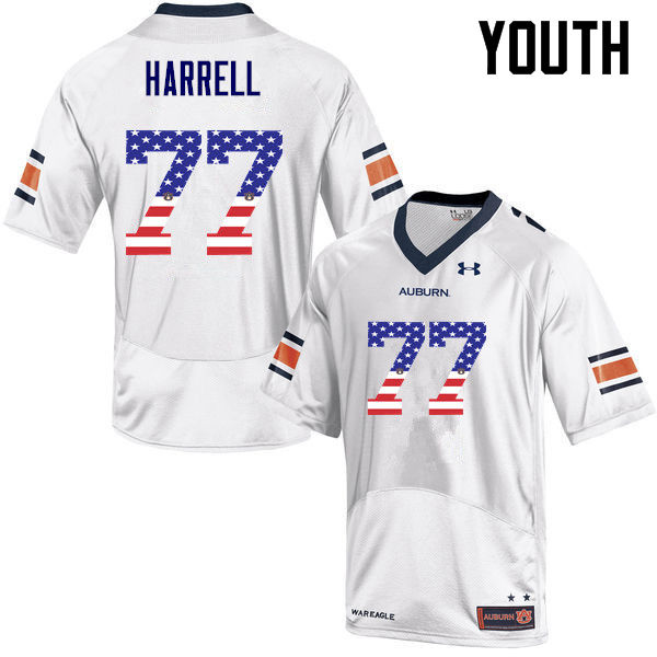Youth #77 Marquel Harrell Auburn Tigers USA Flag Fashion College Football Jerseys-White