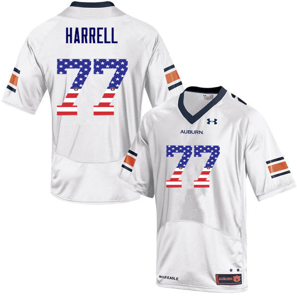 Men #77 Marquel Harrell Auburn Tigers USA Flag Fashion College Football Jerseys-White