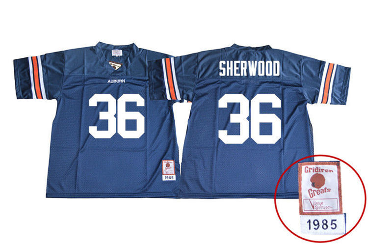 1985 Throwback Men #36 Michael Sherwood Auburn Tigers College Football Jerseys Sale-Navy