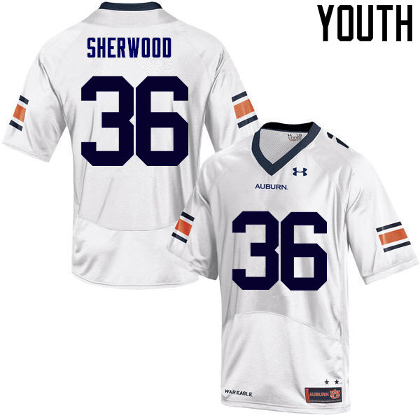 Youth Auburn Tigers #36 Michael Sherwood College Football Jerseys Sale-White