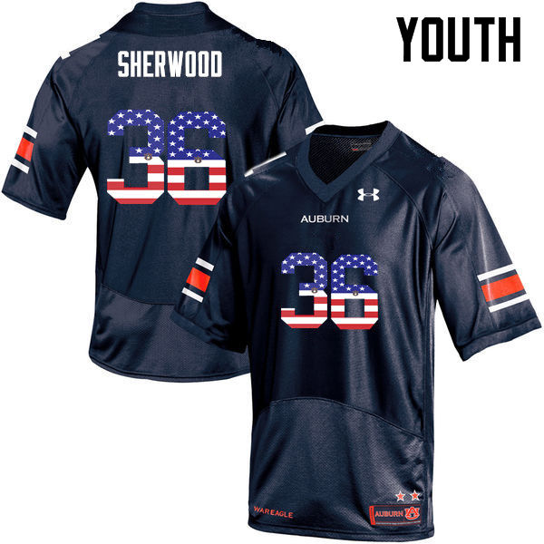 Youth #36 Michael Sherwood Auburn Tigers USA Flag Fashion College Football Jerseys-Navy